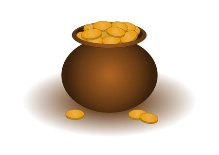Riches symbol  clay pot filled with gold coins Stock Vector - 17621901