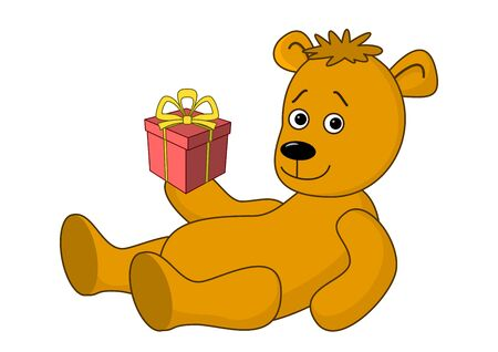 darling: Teddy bear lays and holds a box with a holiday gift