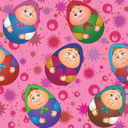 Seamless background, Russian traditional national wooden dolls Matreshka in the form of Easter eggs and abstract pattern  Vector Vector
