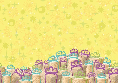 Holiday seamless background, festive gift boxes and floral pattern  Vector Vector
