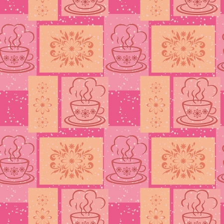 Seamless background, cups with a hot drink and rectangles with floral pattern  Vector Vector