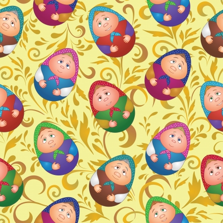 matroshka: Seamless background, Russian traditional national wooden dolls Matreshka in the form of Easter eggs and floral pattern    Illustration