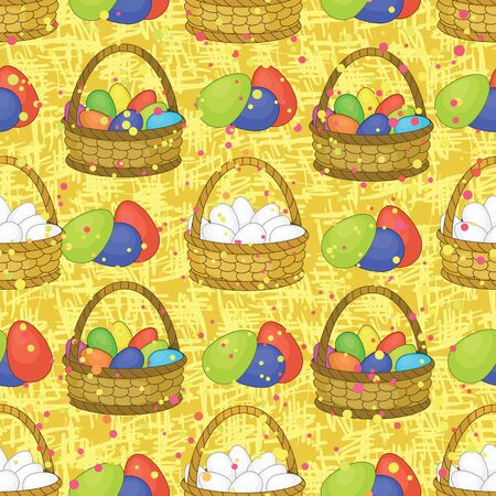 Seamless background, basket with colorful painted chicken Easter eggs   Vector