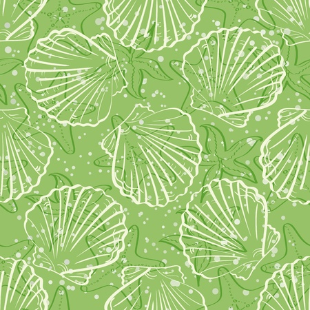 Seamless background, marine seashells and starfishes, white contour on green background   Vector