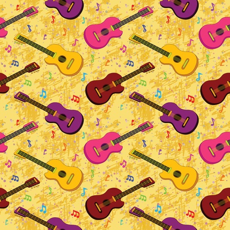Seamless background, pattern of colorful guitars and notes Stock fotó - 18179646