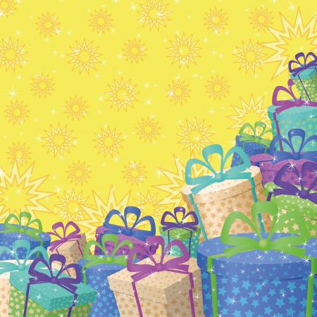 Holiday background with a pattern of festive gift boxes and stars  Vector Vector