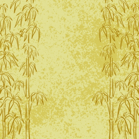 Exotic background, contour bamboo trees and abstract grunge pattern   向量圖像