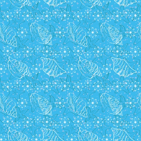 Seamless background, marine seashells and flowers, white contour on blue background  Vector Stock Vector - 18254445