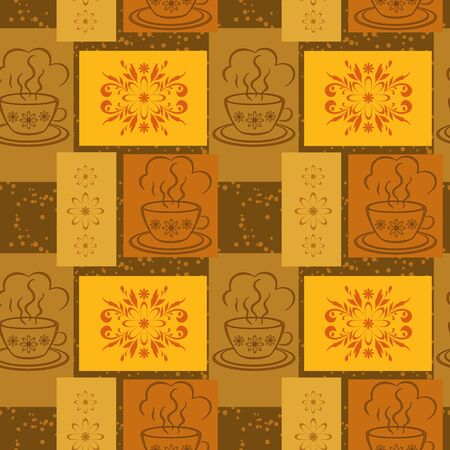 demitasse: Seamless background, cups with a hot drink and rectangles with floral pattern  Vector Illustration