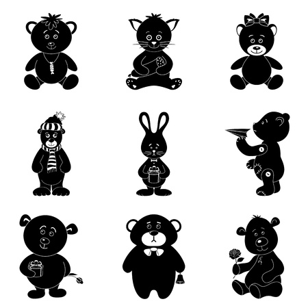 panda cub: Cartoon animals with toys and gifts  teddy bears, cat, bunny  Black silhouettes on white background  Vector Illustration