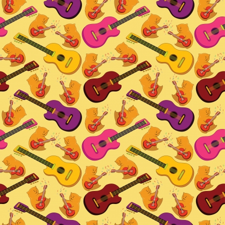 Seamless background, pattern of colorful guitars and cartoon teddy bears musicians   Vector
