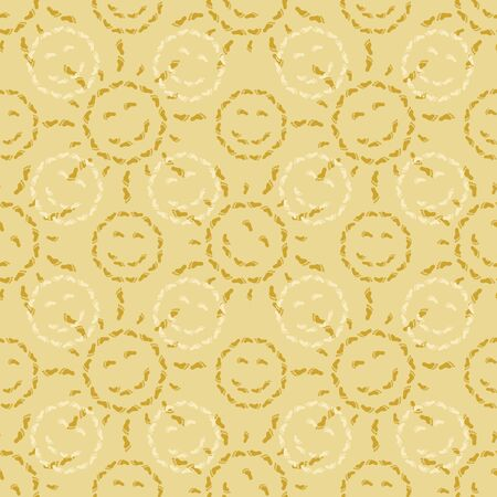 Abstract seamless background, pattern of smiling suns from human footprints on sand  Vector Vector