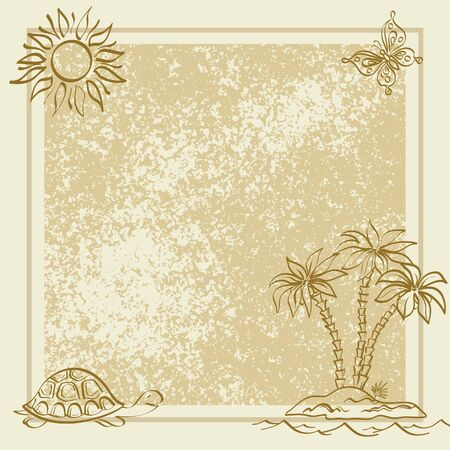 Exotic background  Contour palm, sun, butterfly, turtle, frame and grunge pattern   Vector