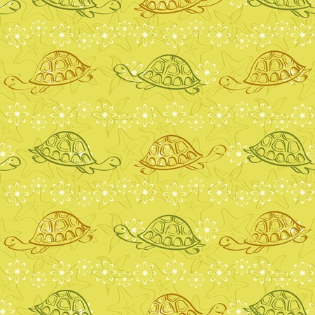 Seamless pattern, sea turtles, starfishes and flower, contours on yellow background  Vector