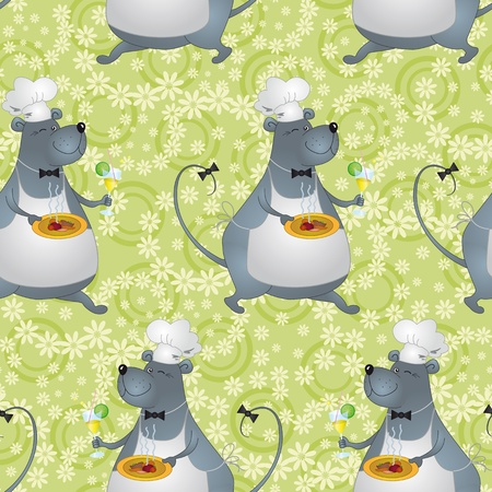 Seamless background, cartoon rat cook with food and drink and floral pattern  Vector