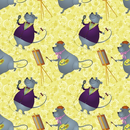 operetta: Seamless background, cartoon rats artist and singer on a floral background with stars