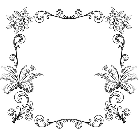 Abstract floral background, frame of flowers, black contour on white background  Illusztráció