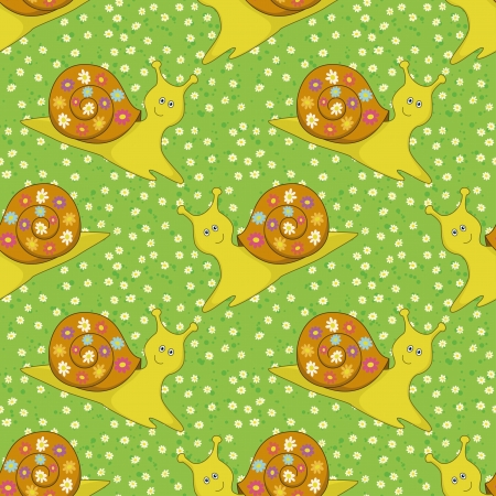 Seamless background, cartoon snail and floral pattern  Vector Vector