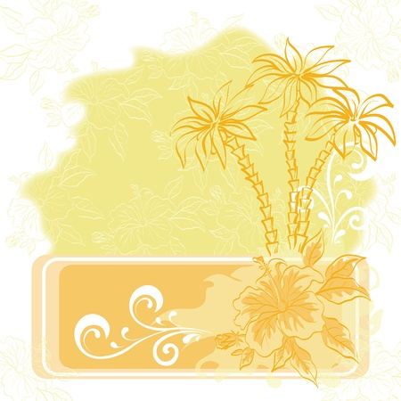 Exotic background  Contour palm tree and flowers contains transparencies  Vector
