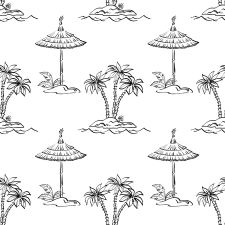 Seamless pattern, contours  Sea island with palm trees and canopy