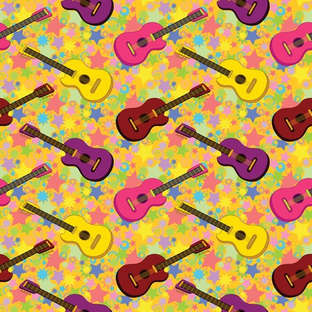 Seamless background, pattern of colorful guitars and stars  Vector Stock Vector - 19749426