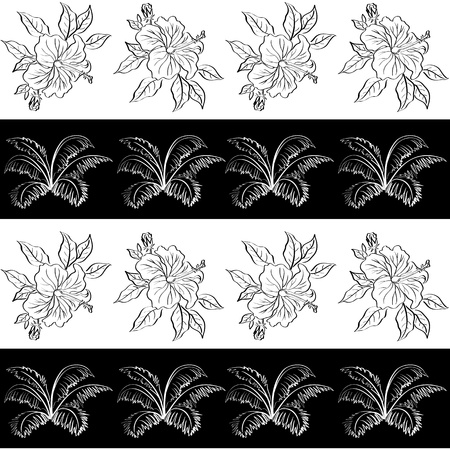 Seamless exotic background, pattern, black and white contour hibiscus flowers and leaves  Vector
