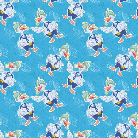 Seamless background, cartoon goose divers and blue pattern with a seashells  Vector
