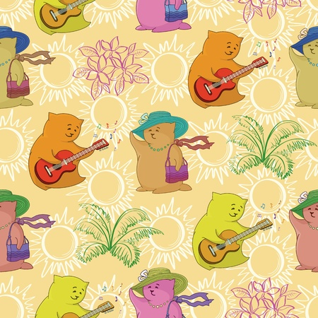 Seamless background, cartoon toy animals and abstract pattern Stock Vector - 19749472