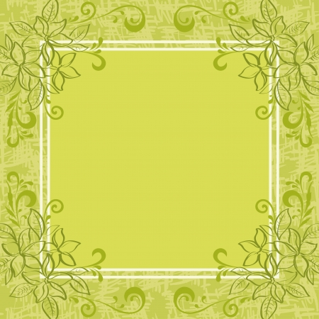 Abstract green floral background  Contour leaves, frame and grunge pattern   Vector
