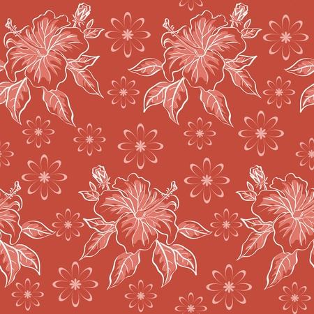 Seamless floral background, hibiscus flowers, contours on red   Vector