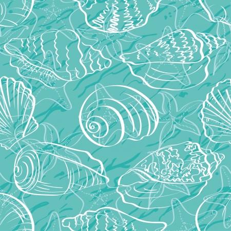 conchas: De fondo sin fisuras, conchas marinas y estrellas de mar, contorno blanco sobre fondo azul