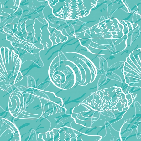 scallop shell: Seamless background, marine seashells and starfishes, white contour on blue background  Illustration