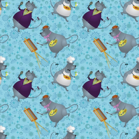 Seamless background, cartoon rats artist, cook and singer on a floral background with stars  Vector Vector