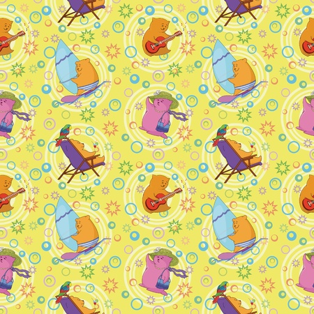 Seamless background, cartoon toy animals and abstract pattern  Vector Vector