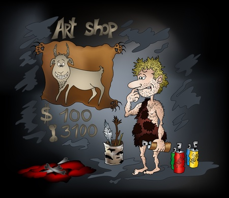 he goat: Cartoon  prehistoric man artist in a cave draws a funny goat