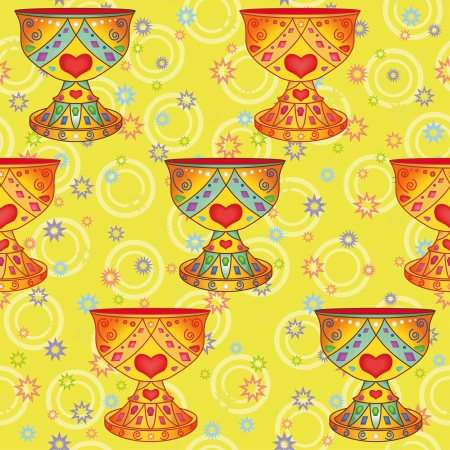 grail: Seamless background, legendary bowl Holy Grail and abstract pattern  Vector