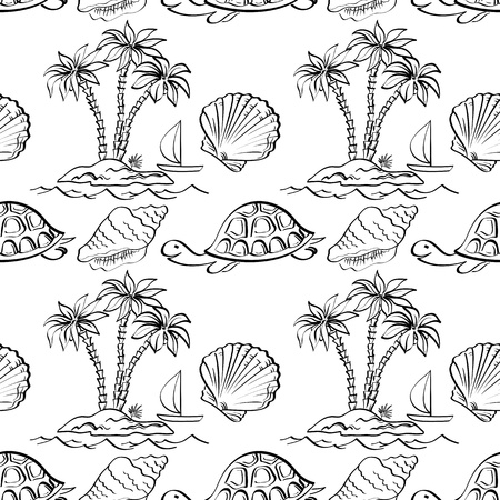 Seamless pattern  Sea island with palm trees, boat, turtles, shells  Black contour on white background  Vector