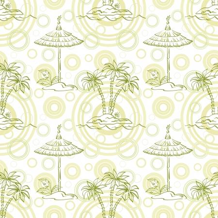 carribean: Seamless pattern isla del Mar con palmeras y canopy, contornos verdes