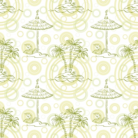 Seamless pattern  Sea island with palm trees and canopy, green contours Vector