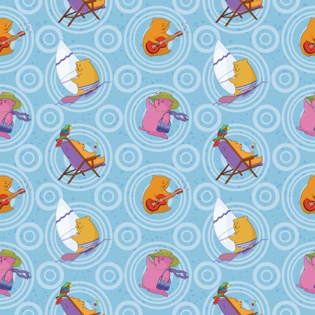 Seamless background, cartoon toy animals and abstract pattern Vector