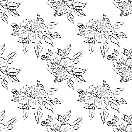 Seamless floral background, hibiscus flowers and leaves Illustration