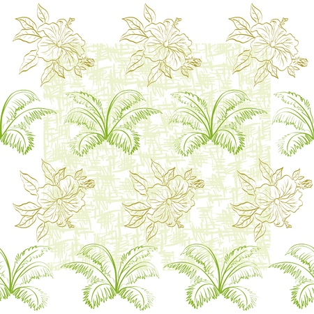 Seamless floral background, hibiscus flowers and leaves, contours.  Vector