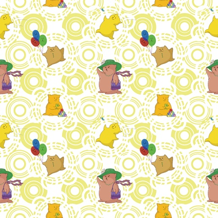 Seamless background, cartoon toy animals and abstract pattern. Vector Vector
