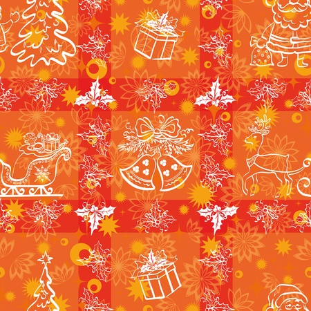 Christmas cartoon seamless background for holiday design, white contours on red   Vector