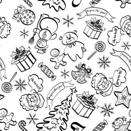 Christmas cartoon seamless pattern for holiday design, black contours on white background.  Vector