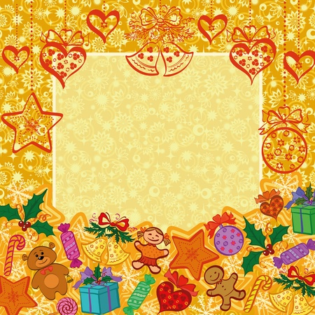 Holiday Christmas background with cartoon characters and elements. Eps10, contains transparencies. Vector Vector