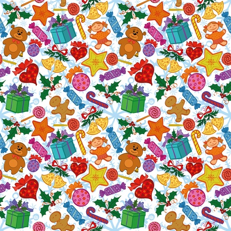 Holiday seamless pattern with cartoon characters and elements. Vector Vector