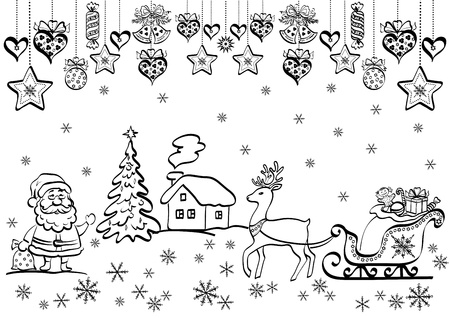 Christmas background with black contour cartoon Santa Claus and holiday decorations.