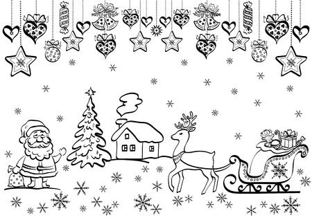 Kerst achtergrond met zwarte contour cartoon Kerstman en vakantie decoraties.