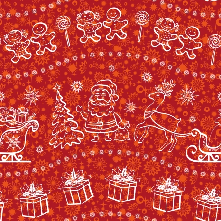 Christmas seamless pattern for holiday design, white contours on red background.  Illusztráció